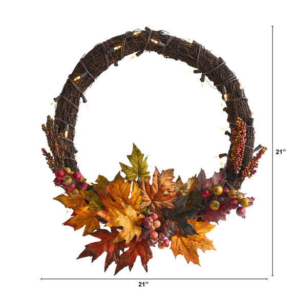 21 Maple Leaf and Berries Artificial Wreath with 50 Warm White LED Lights - SKU #W1040 - 1