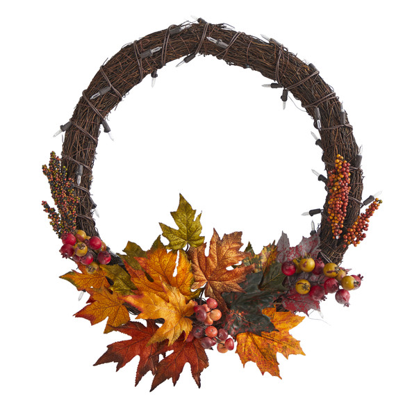 21 Maple Leaf and Berries Artificial Wreath with 50 Warm White LED Lights - SKU #W1040 - 2