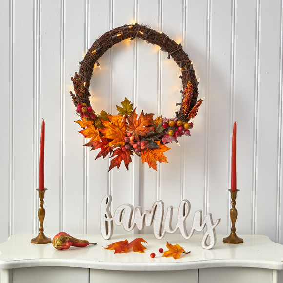 21 Maple Leaf and Berries Artificial Wreath with 50 Warm White LED Lights - SKU #W1040 - 3