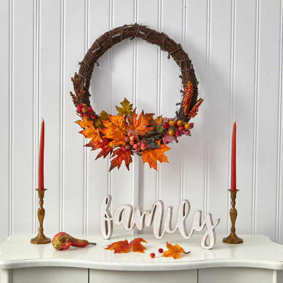 21 Maple Leaf and Berries Artificial Wreath with 50 Warm White LED Lights - SKU #W1040 - 4