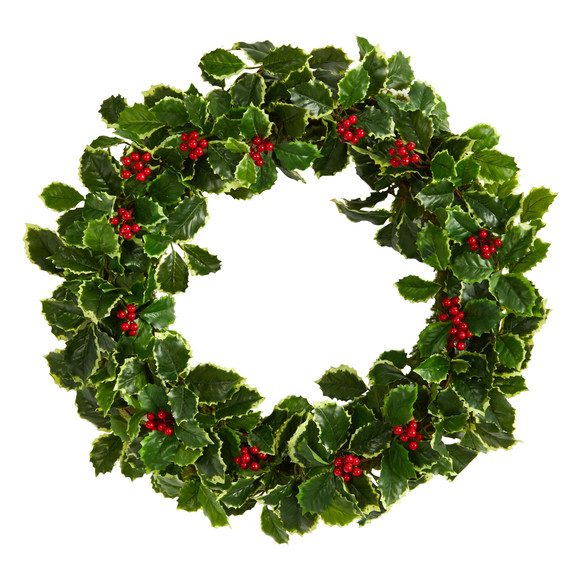 22 Variegated Holly Leaf with Berries Artificial Christmas Wreath - SKU #W1046