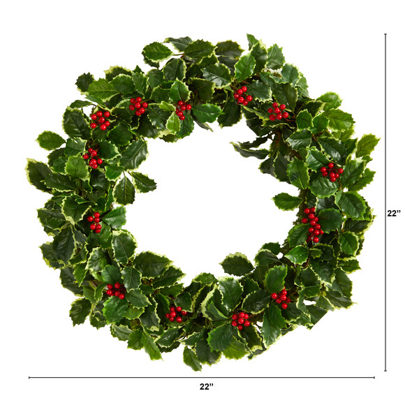 22 Variegated Holly Leaf with Berries Artificial Christmas Wreath - SKU #W1046 - 1