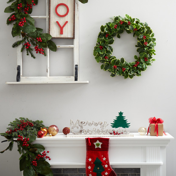22 Variegated Holly Leaf with Berries Artificial Christmas Wreath - SKU #W1046 - 2