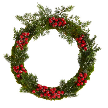 20 Iced Pine and Berries Artificial Christmas Wreath - SKU #W1047