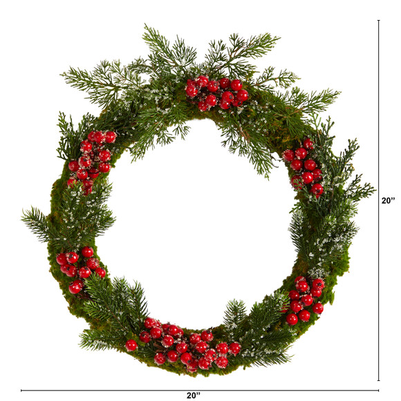 20 Iced Pine and Berries Artificial Christmas Wreath - SKU #W1047 - 1