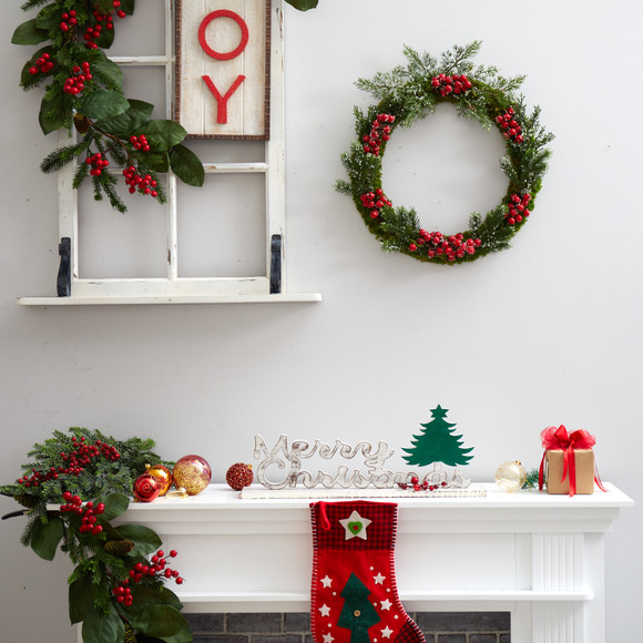 20 Iced Pine and Berries Artificial Christmas Wreath - SKU #W1047 - 2