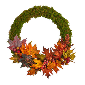 20 Fall Maple Leaf and Berries Artificial Autumn Wreath - SKU #W1048