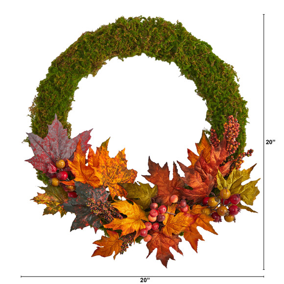 20 Fall Maple Leaf and Berries Artificial Autumn Wreath - SKU #W1048 - 1
