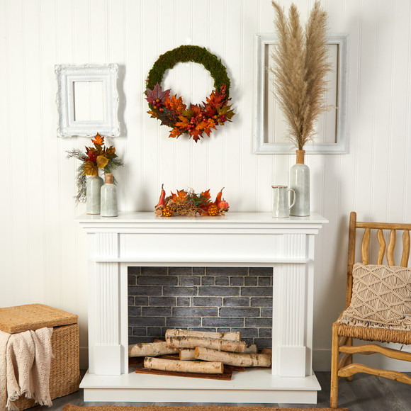 20 Fall Maple Leaf and Berries Artificial Autumn Wreath - SKU #W1048 - 3