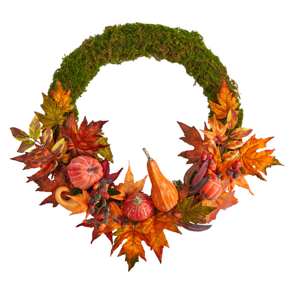 20 Autumn Pumpkin Gourd and Fall Maple Leaf Artificial Wreath - SKU #W1049