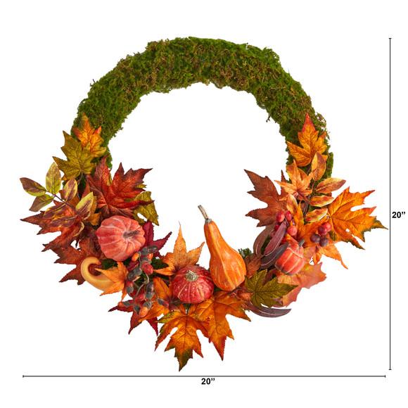 20 Autumn Pumpkin Gourd and Fall Maple Leaf Artificial Wreath - SKU #W1049 - 1