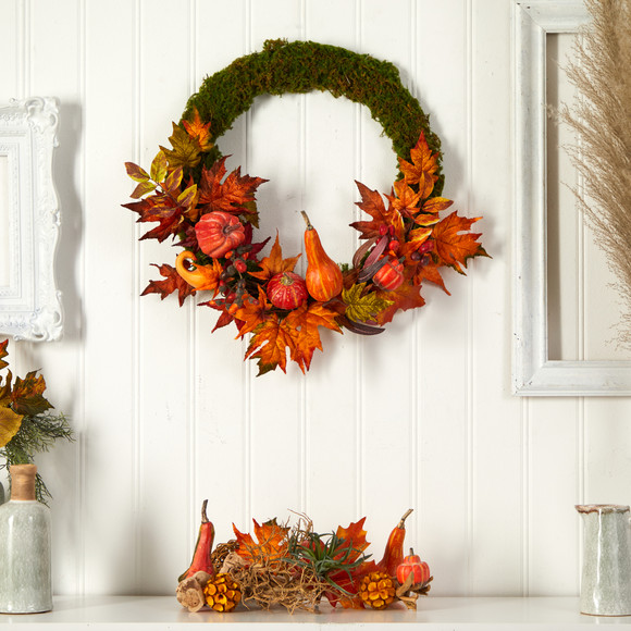 20 Autumn Pumpkin Gourd and Fall Maple Leaf Artificial Wreath - SKU #W1049 - 2