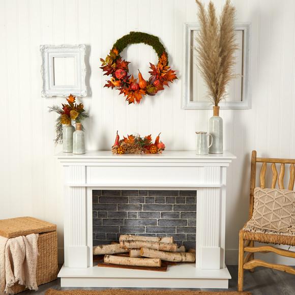20 Autumn Pumpkin Gourd and Fall Maple Leaf Artificial Wreath - SKU #W1049 - 3