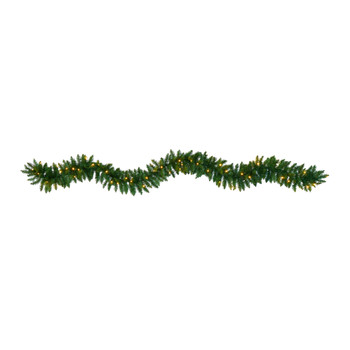 9 Christmas Pine Artificial Garland with 50 Warm White LEDs Lights - SKU #W1100