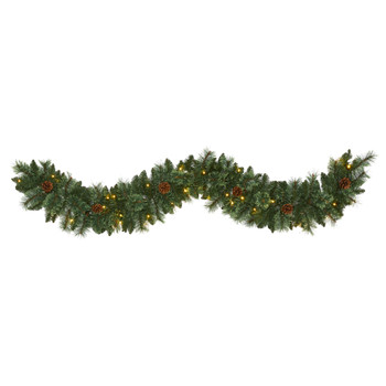 6 White Mountain Pine Artificial Garland with 35 White Warm LED Lights and Pinecones - SKU #W1101