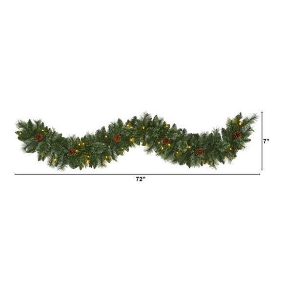 6 White Mountain Pine Artificial Garland with 35 White Warm LED Lights and Pinecones - SKU #W1101 - 1