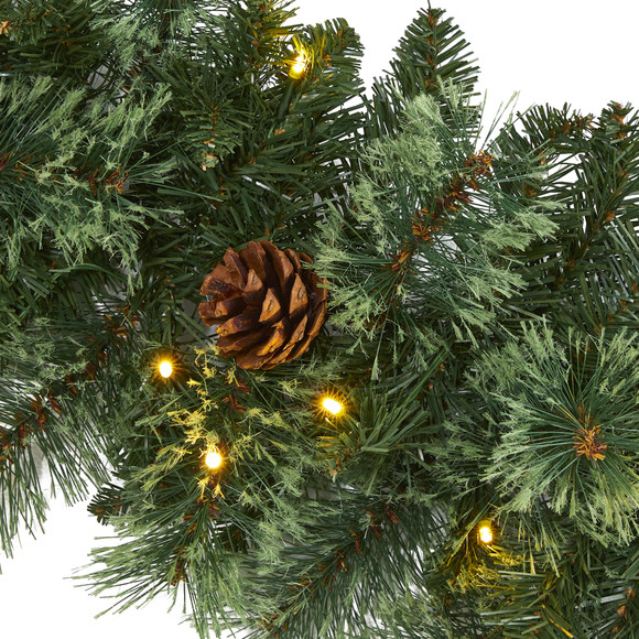 6 White Mountain Pine Artificial Garland with 35 White Warm LED Lights and Pinecones - SKU #W1101 - 2