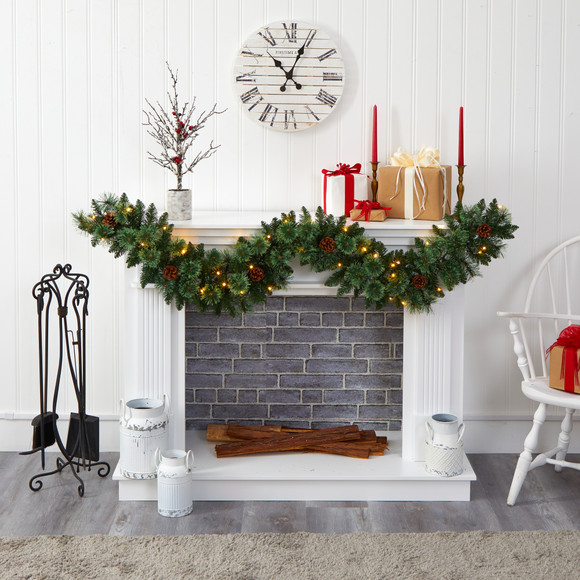 6 White Mountain Pine Artificial Garland with 35 White Warm LED Lights and Pinecones - SKU #W1101 - 3