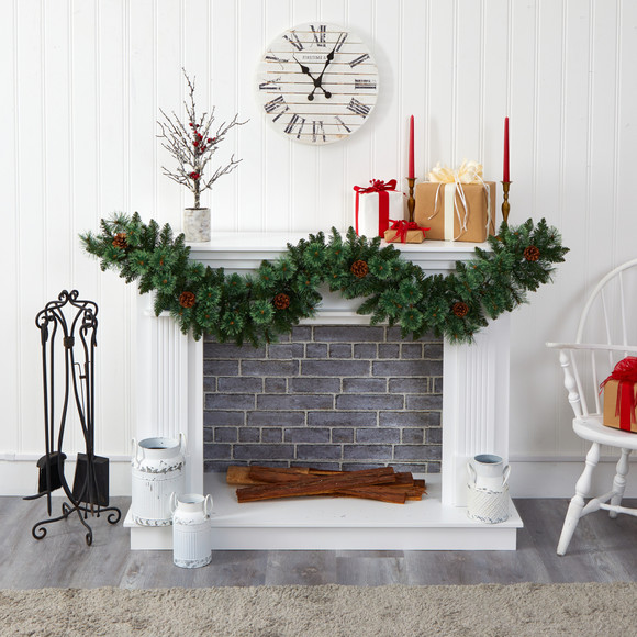 6 White Mountain Pine Artificial Garland with 35 White Warm LED Lights and Pinecones - SKU #W1101 - 4