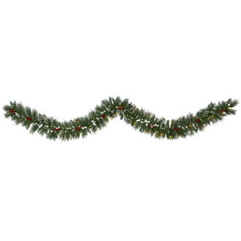 9 Frosted Swiss Pine Artificial Garland with 50 Clear LED Lights and Berries - SKU #W1102