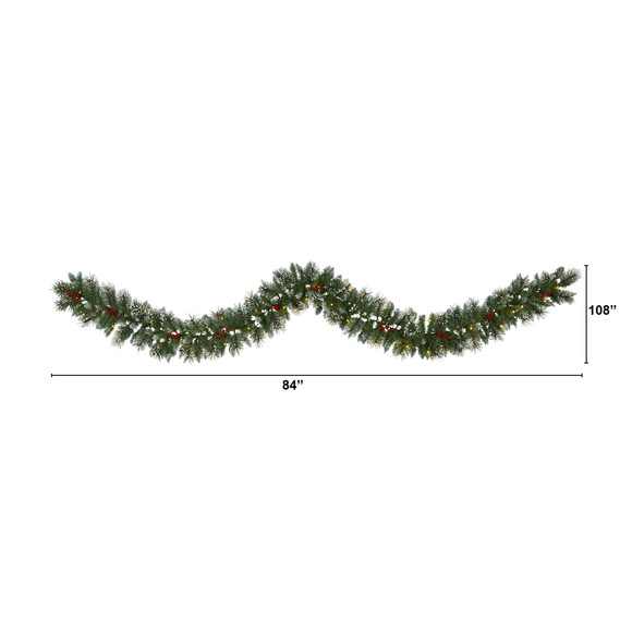 9 Frosted Swiss Pine Artificial Garland with 50 Clear LED Lights and Berries - SKU #W1102 - 1