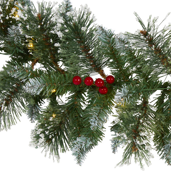 9 Frosted Swiss Pine Artificial Garland with 50 Clear LED Lights and Berries - SKU #W1102 - 2