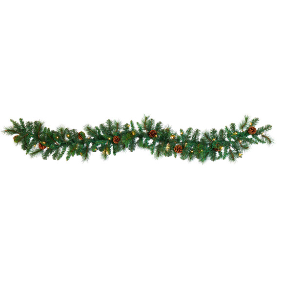 6 Mixed Pine and Pinecone Artificial Garland with 35 Clear LED Lights - SKU #W1103