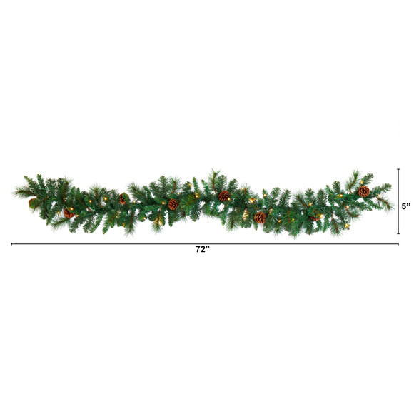 6 Mixed Pine and Pinecone Artificial Garland with 35 Clear LED Lights - SKU #W1103 - 1