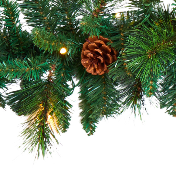 6 Mixed Pine and Pinecone Artificial Garland with 35 Clear LED Lights - SKU #W1103 - 3