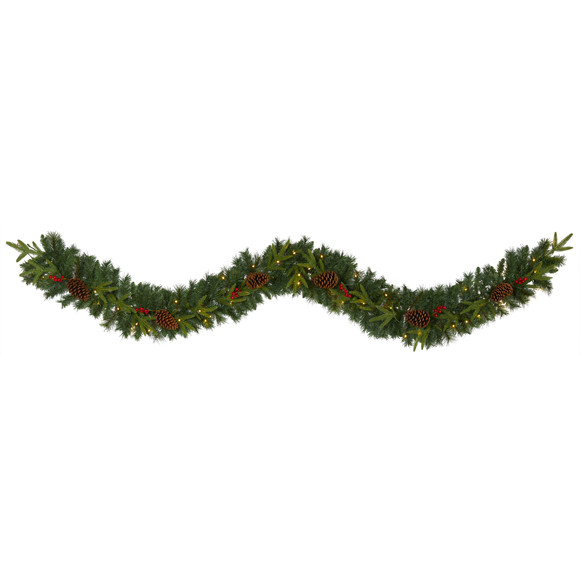 9 Mixed Pine Artificial Christmas Garland with 50 Clear LED Lights Berries and Pinecones - SKU #W1104