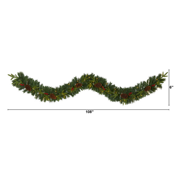 9 Mixed Pine Artificial Christmas Garland with 50 Clear LED Lights Berries and Pinecones - SKU #W1104 - 1