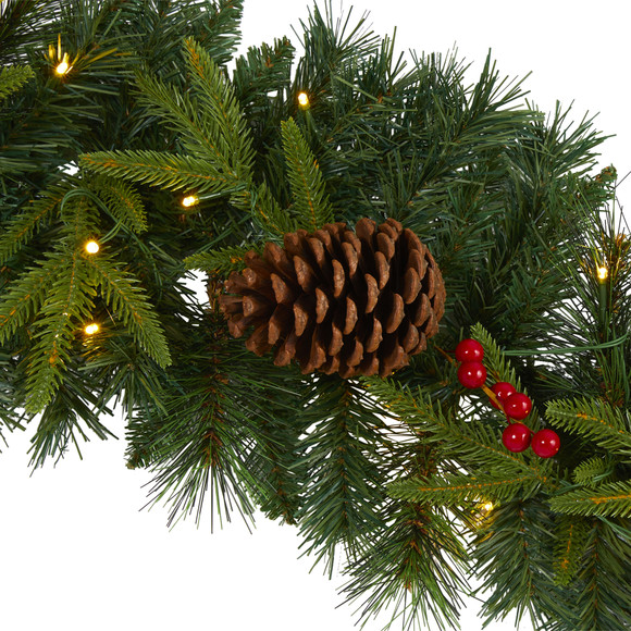 9 Mixed Pine Artificial Christmas Garland with 50 Clear LED Lights Berries and Pinecones - SKU #W1104 - 2