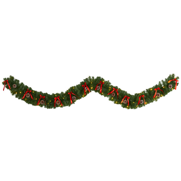 9 Bow and Pinecone Artificial Christmas Garland with 35 Clear LED Lights - SKU #W1105