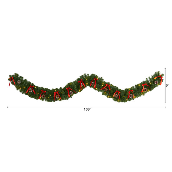 9 Bow and Pinecone Artificial Christmas Garland with 35 Clear LED Lights - SKU #W1105 - 1