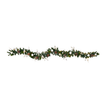 9 Ornament and Pinecone Artificial Christmas Garland with 50 Clear LED Lights - SKU #W1106
