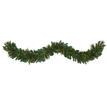 6 Mixed Pine and Pinecone Artificial Garland with 35 Clear LED Lights - SKU #W1107