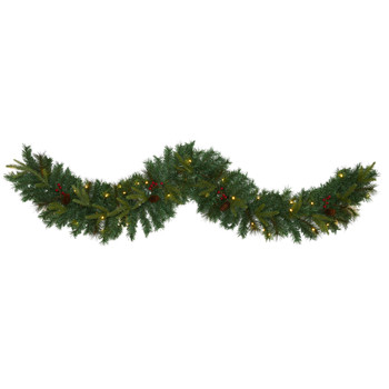 6 Mixed Pine Artificial Christmas Garland with 35 Clear LED Lights Berries and Pinecones - SKU #W1108