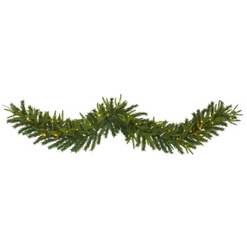 6 Green Pine Artificial Christmas Garland with 35 Clear LED Lights - SKU #W1109