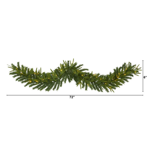 6 Green Pine Artificial Christmas Garland with 35 Clear LED Lights - SKU #W1109 - 1