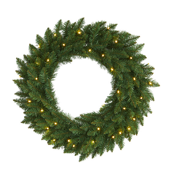 24 Green Pine Artificial Christmas Wreath with 35 Clear LED Lights - SKU #W1110
