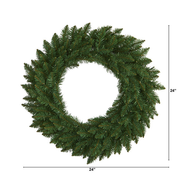 24 Green Pine Artificial Christmas Wreath with 35 Clear LED Lights - SKU #W1110 - 1
