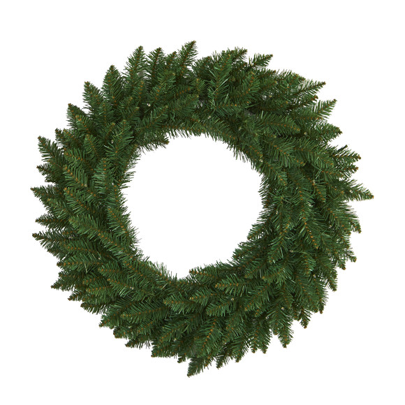 24 Green Pine Artificial Christmas Wreath with 35 Clear LED Lights - SKU #W1110 - 2