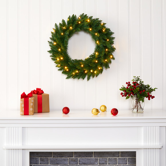 24 Green Pine Artificial Christmas Wreath with 35 Clear LED Lights - SKU #W1110 - 4