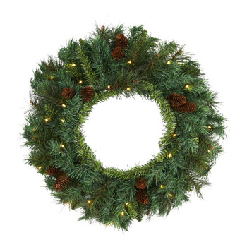 20 Mixed Pine and Pinecone Artificial Christmas Wreath with 35 Clear LED Lights - SKU #W1111