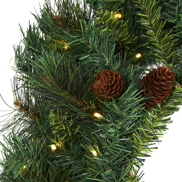 20 Mixed Pine and Pinecone Artificial Christmas Wreath with 35 Clear LED Lights - SKU #W1111 - 2