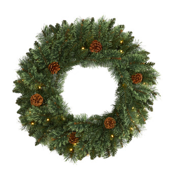 24 White Mountain Pine Artificial Christmas Wreath with 35 LED Lights and Pinecones - SKU #W1112