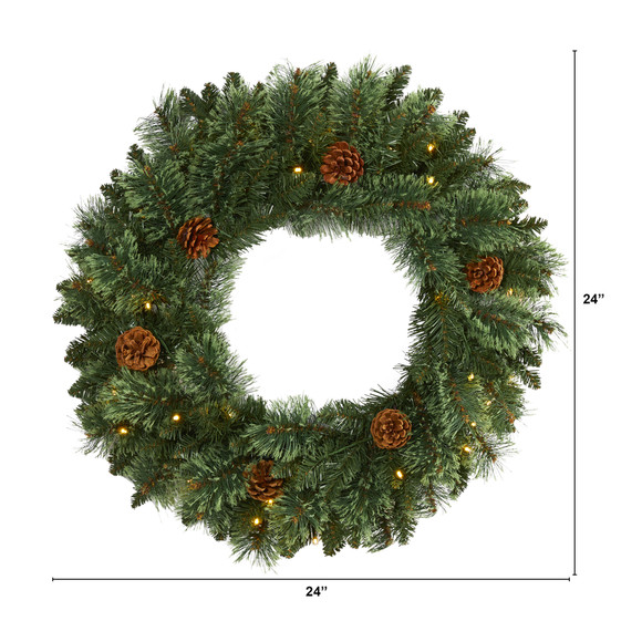 24 White Mountain Pine Artificial Christmas Wreath with 35 LED Lights and Pinecones - SKU #W1112 - 1