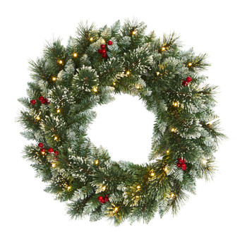 24 Frosted Swiss Pine Artificial Wreath with 35 Clear LED Lights and Berries - SKU #W1113