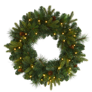 24 Mixed Pine Artificial Christmas Wreath with 35 Clear LED Lights and Pinecones - SKU #W1114