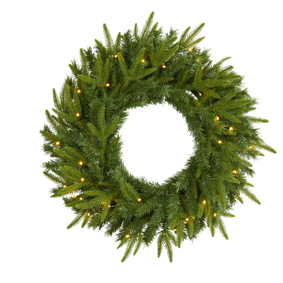 24 Long Pine Artificial Christmas Wreath with 35 Clear LED Lights - SKU #W1115